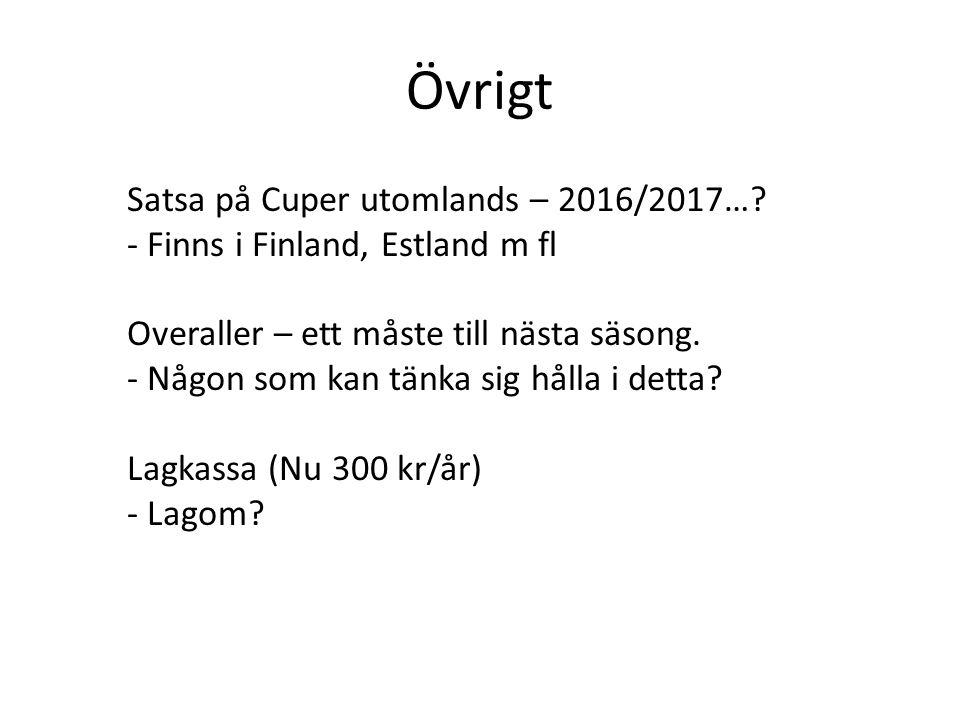 Övrigt Satsa på Cuper utomlands – 2016/2017….