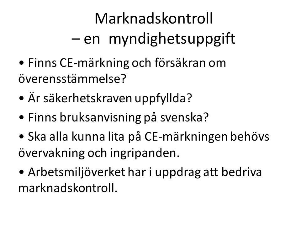 Marknadskontroll – en myndighetsuppgift Finns CE-märkning och försäkran om överensstämmelse.