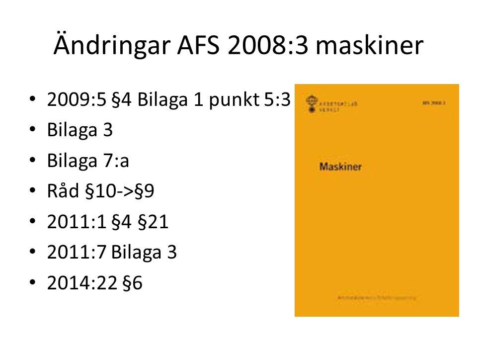 Ändringar AFS 2008:3 maskiner 2009:5 §4 Bilaga 1 punkt 5:3 Bilaga 3 Bilaga 7:a Råd §10->§9 2011:1 §4 §21 2011:7 Bilaga 3 2014:22 §6