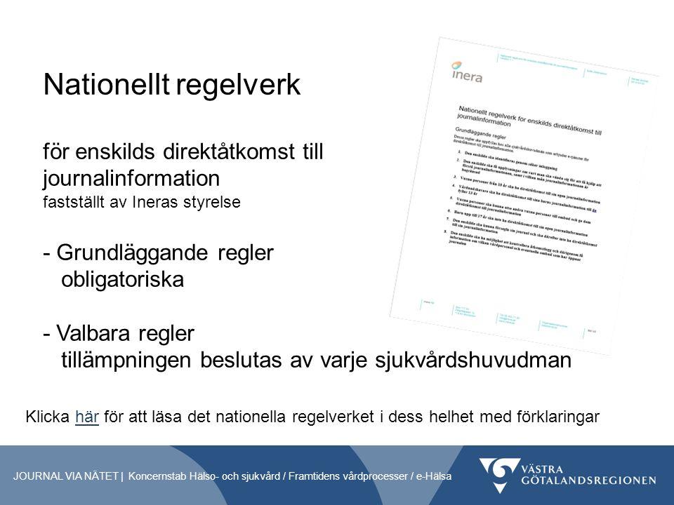 Nationellt regelverk för enskilds direktåtkomst till journalinformation fastställt av Ineras styrelse - Grundläggande regler obligatoriska - Valbara regler tillämpningen beslutas av varje sjukvårdshuvudman JOURNAL VIA NÄTET | Koncernstab Hälso- och sjukvård / Framtidens vårdprocesser / e-Hälsa Klicka här för att läsa det nationella regelverket i dess helhet med förklaringarhär