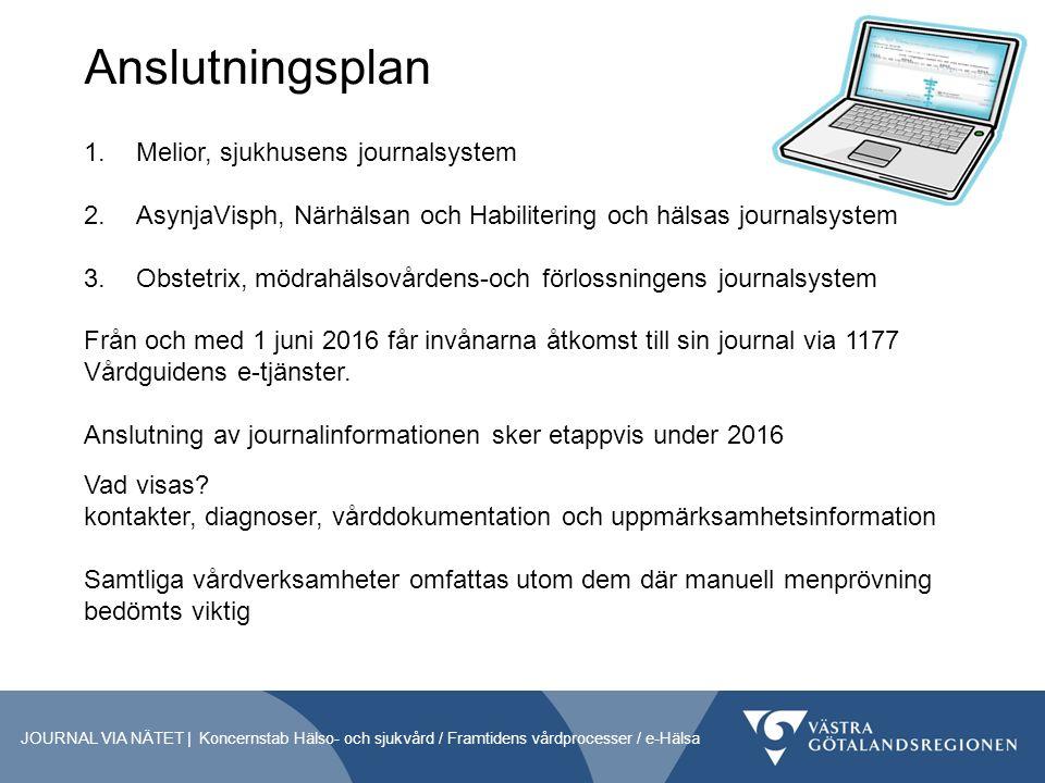 Anslutningsplan JOURNAL VIA NÄTET | Koncernstab Hälso- och sjukvård / Framtidens vårdprocesser / e-Hälsa 1.Melior, sjukhusens journalsystem 2.AsynjaVisph, Närhälsan och Habilitering och hälsas journalsystem 3.Obstetrix, mödrahälsovårdens-och förlossningens journalsystem Från och med 1 juni 2016 får invånarna åtkomst till sin journal via 1177 Vårdguidens e-tjänster.