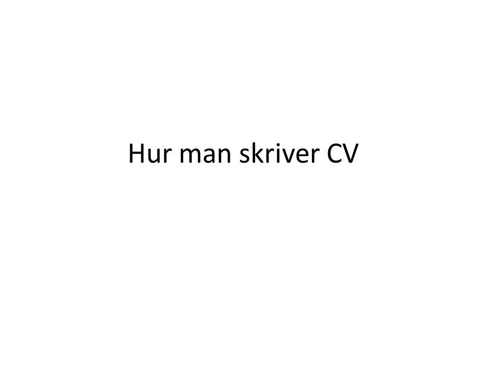 Hur man skriver CV