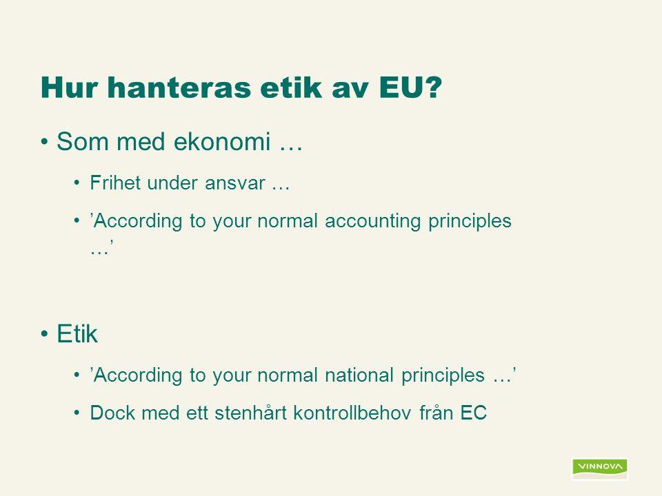 Infogad sidfot, datum och sidnummer syns bara i utskrift (infoga genom fliken Infoga -> Sidhuvud/sidfot) Hur hanteras etik av EU.