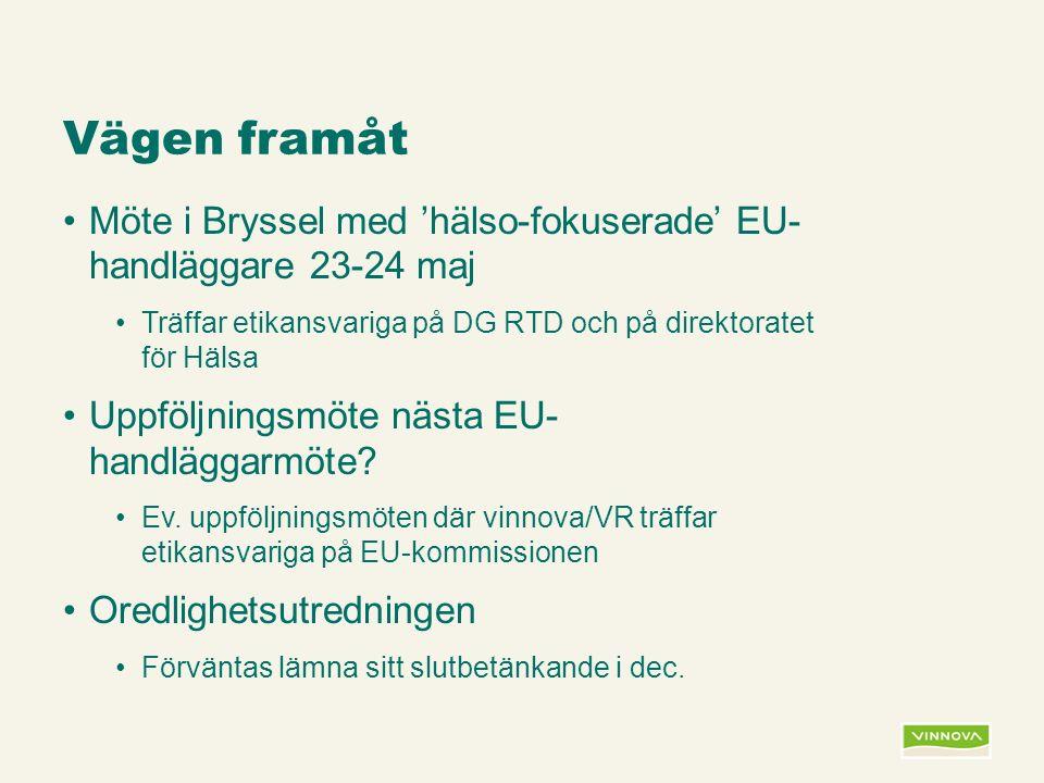 Infogad sidfot, datum och sidnummer syns bara i utskrift (infoga genom fliken Infoga -> Sidhuvud/sidfot) Vägen framåt Möte i Bryssel med 'hälso-fokuserade' EU- handläggare 23-24 maj Träffar etikansvariga på DG RTD och på direktoratet för Hälsa Uppföljningsmöte nästa EU- handläggarmöte.