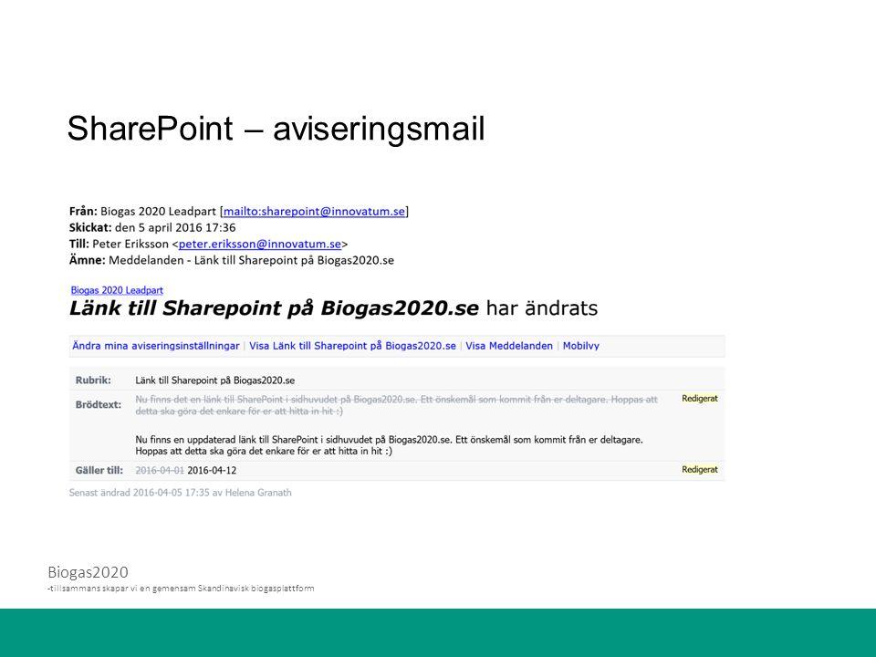 SharePoint – aviseringsmail