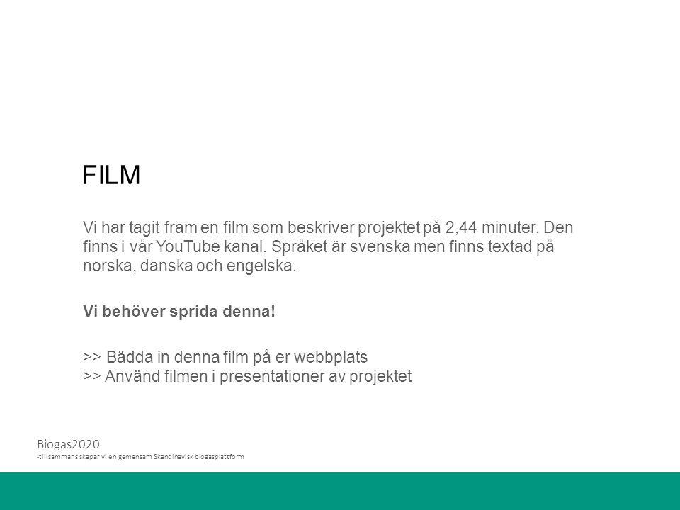 Biogas2020 -tillsammans skapar vi en gemensam Skandinavisk biogasplattform FILM Vi har tagit fram en film som beskriver projektet på 2,44 minuter.