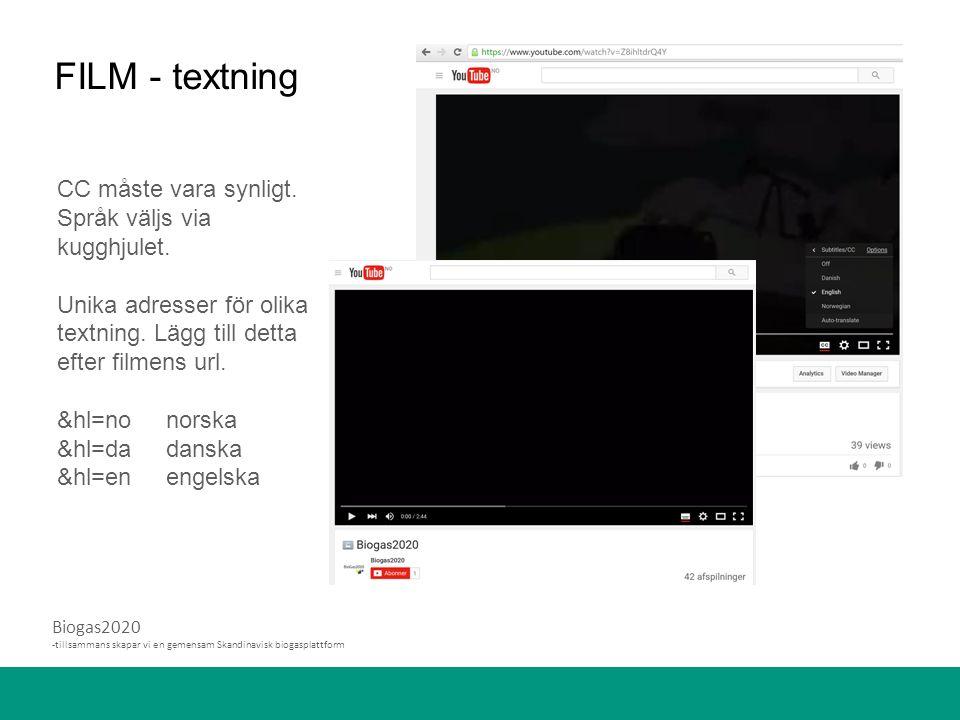 Biogas2020 -tillsammans skapar vi en gemensam Skandinavisk biogasplattform FILM - textning CC måste vara synligt.
