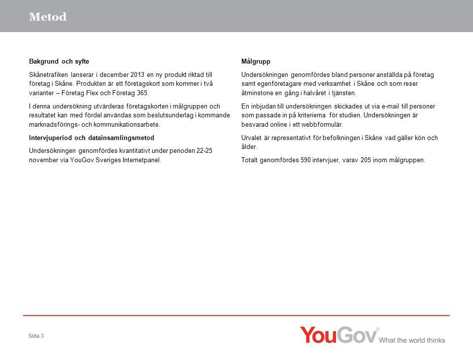Metod Sida 3 Bakgrund och syfte Skånetrafiken lanserar i december 2013 en ny produkt riktad till företag i Skåne.