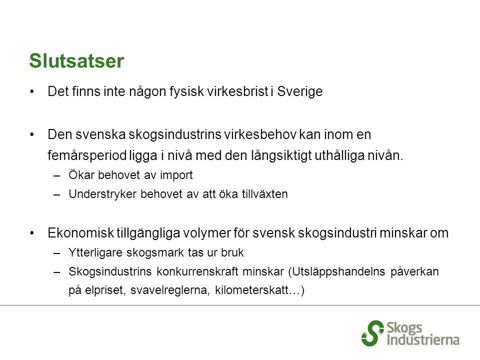 Slutsatser Det finns inte någon fysisk virkesbrist i Sverige Den svenska skogsindustrins virkesbehov kan inom en femårsperiod ligga i nivå med den lån