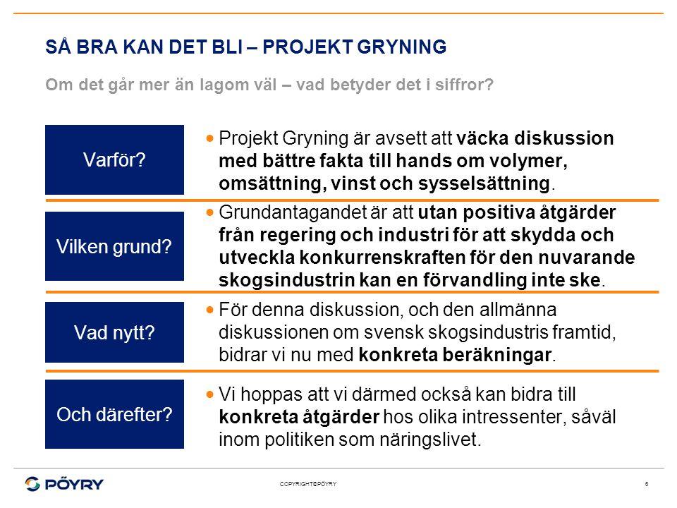 COPYRIGHT©PÖYRY 6  Grundantagandet är att utan positiva åtgärder från regering och industri för att skydda och utveckla konkurrenskraften för den nuv