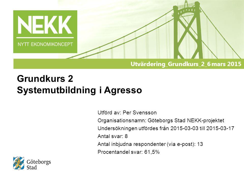 Utförd av: Per Svensson Organisationsnamn: Göteborgs Stad NEKK-projektet Undersökningen utfördes från 2015-03-03 till 2015-03-17 Antal svar: 8 Antal i