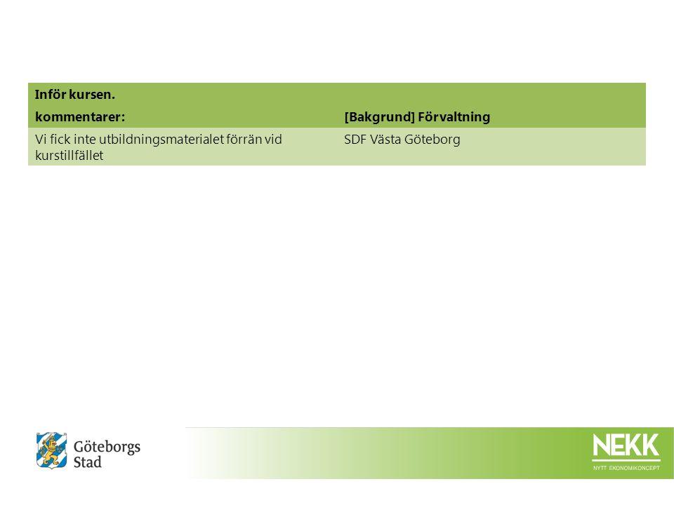 Inför kursen. kommentarer:[Bakgrund] Förvaltning Vi fick inte utbildningsmaterialet förrän vid kurstillfället SDF Västa Göteborg