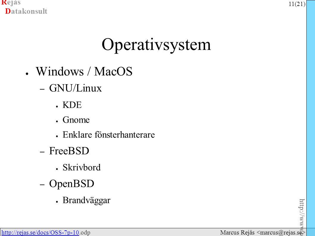 Rejås 11 (21) http://www.rejas.se – Fri programvara är enkelt http://rejas.se/docs/OSS-7p-10.odphttp://rejas.se/docs/OSS-7p-10 Datakonsult Marcus Rejås Operativsystem ● Windows / MacOS – GNU/Linux ● KDE ● Gnome ● Enklare fönsterhanterare – FreeBSD ● Skrivbord – OpenBSD ● Brandväggar