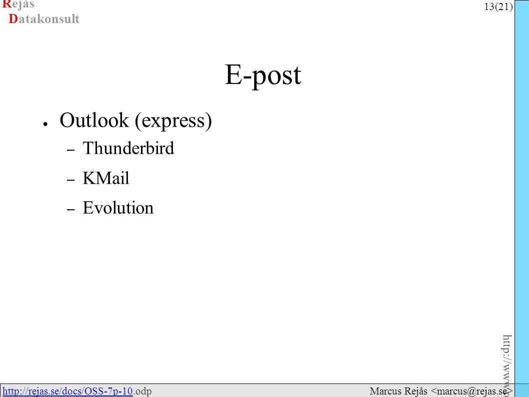 Rejås 13 (21) http://www.rejas.se – Fri programvara är enkelt http://rejas.se/docs/OSS-7p-10.odphttp://rejas.se/docs/OSS-7p-10 Datakonsult Marcus Rejås E-post ● Outlook (express) – Thunderbird – KMail – Evolution