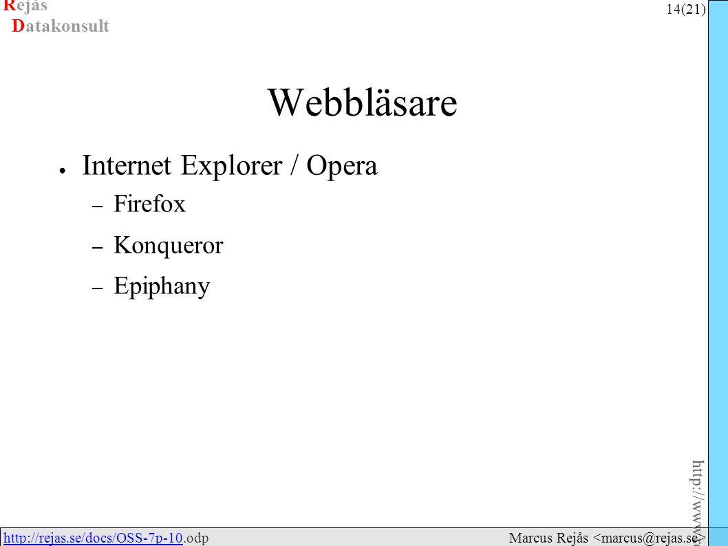 Rejås 14 (21) http://www.rejas.se – Fri programvara är enkelt http://rejas.se/docs/OSS-7p-10.odphttp://rejas.se/docs/OSS-7p-10 Datakonsult Marcus Rejås Webbläsare ● Internet Explorer / Opera – Firefox – Konqueror – Epiphany