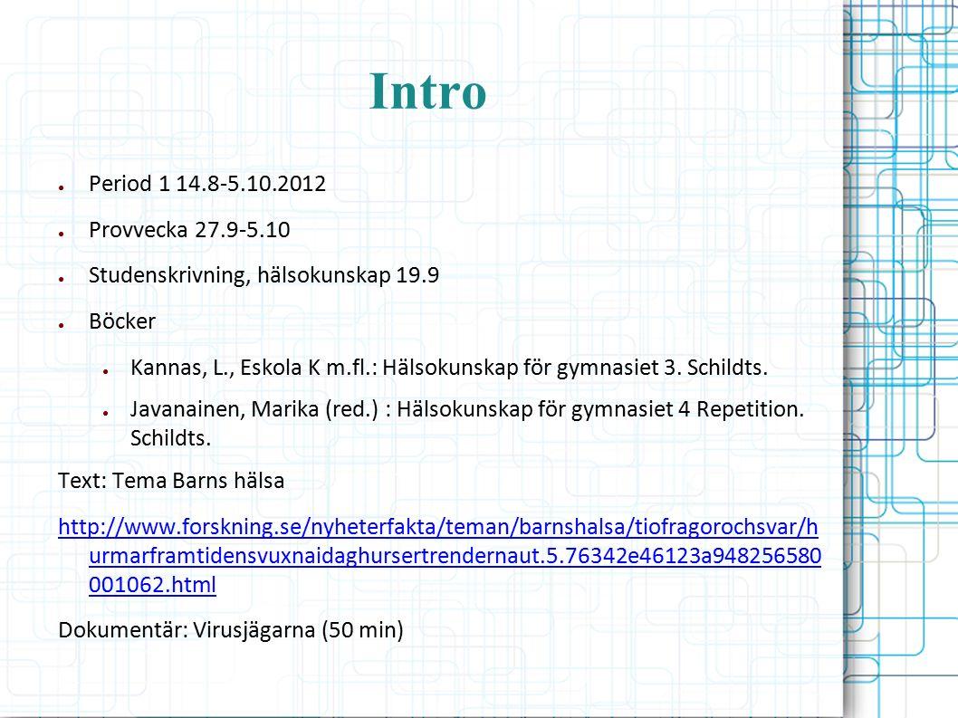 Intro ● Period 1 14.8-5.10.2012 ● Provvecka 27.9-5.10 ● Studenskrivning, hälsokunskap 19.9 ● Böcker ● Kannas, L., Eskola K m.fl.: Hälsokunskap för gymnasiet 3.
