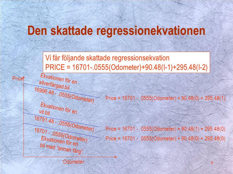 6 Odometer Price Price = 16701 -.0555(Odometer) + 90.48(0) + 295.48(1) Price = 16701 -.0555(Odometer) + 90.48(1) + 295.48(0) Price = 16701 -.0555(Odometer) + 90.48(0) + 295.48(0) 16701 -.0555(Odometer) 16791.48 -.0555(Odometer) 16996.48 -.0555(Odometer) Ekvationen för en bil med annan färg .