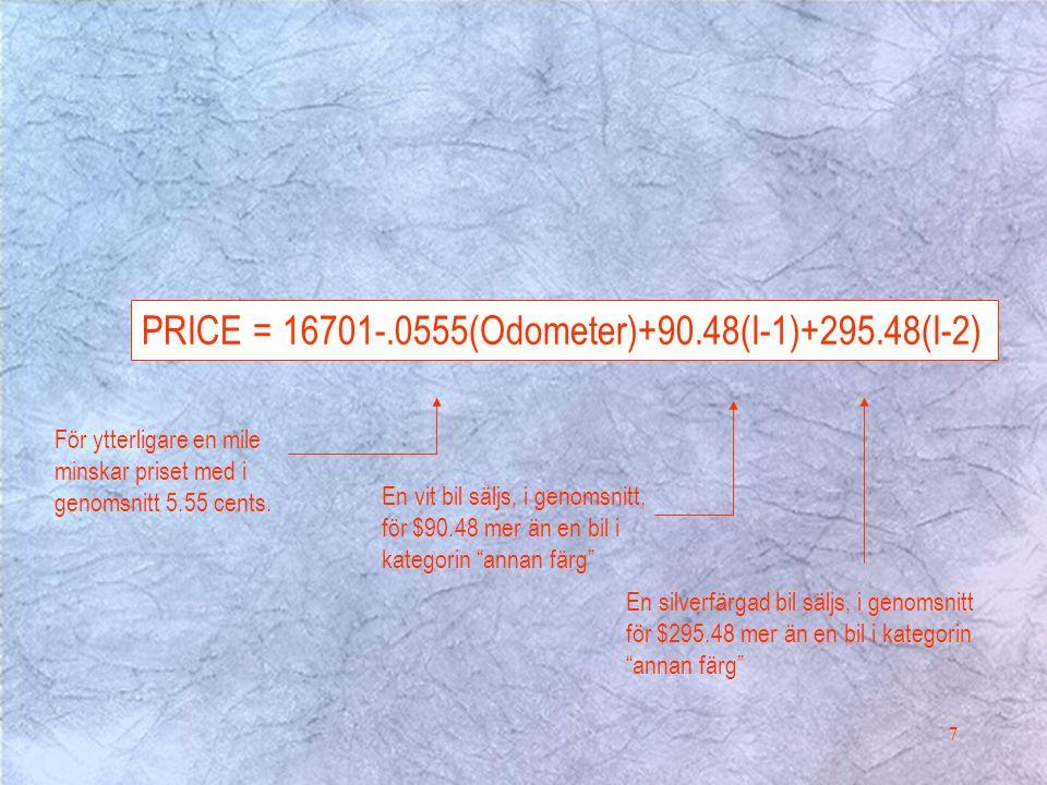 7 PRICE = 16701-.0555(Odometer)+90.48(I-1)+295.48(I-2) En vit bil säljs, i genomsnitt, för $90.48 mer än en bil i kategorin annan färg En silverfärgad bil säljs, i genomsnitt för $295.48 mer än en bil i kategorin annan färg För ytterligare en mile minskar priset med i genomsnitt 5.55 cents.