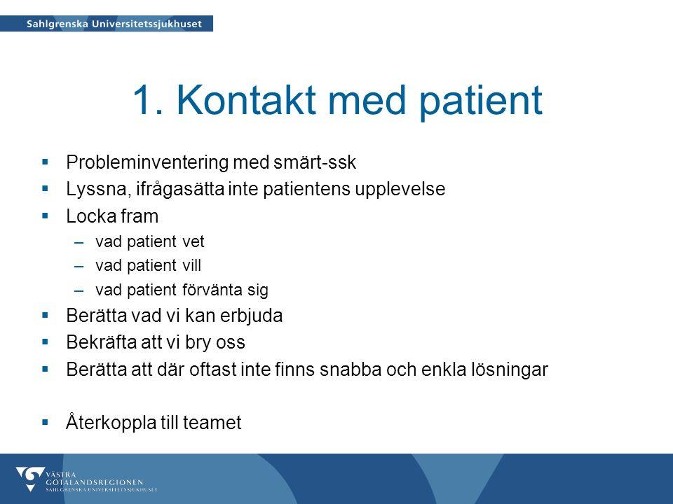 1. Kontakt med patient  Probleminventering med smärt-ssk  Lyssna, ifrågasätta inte patientens upplevelse  Locka fram –vad patient vet –vad patient