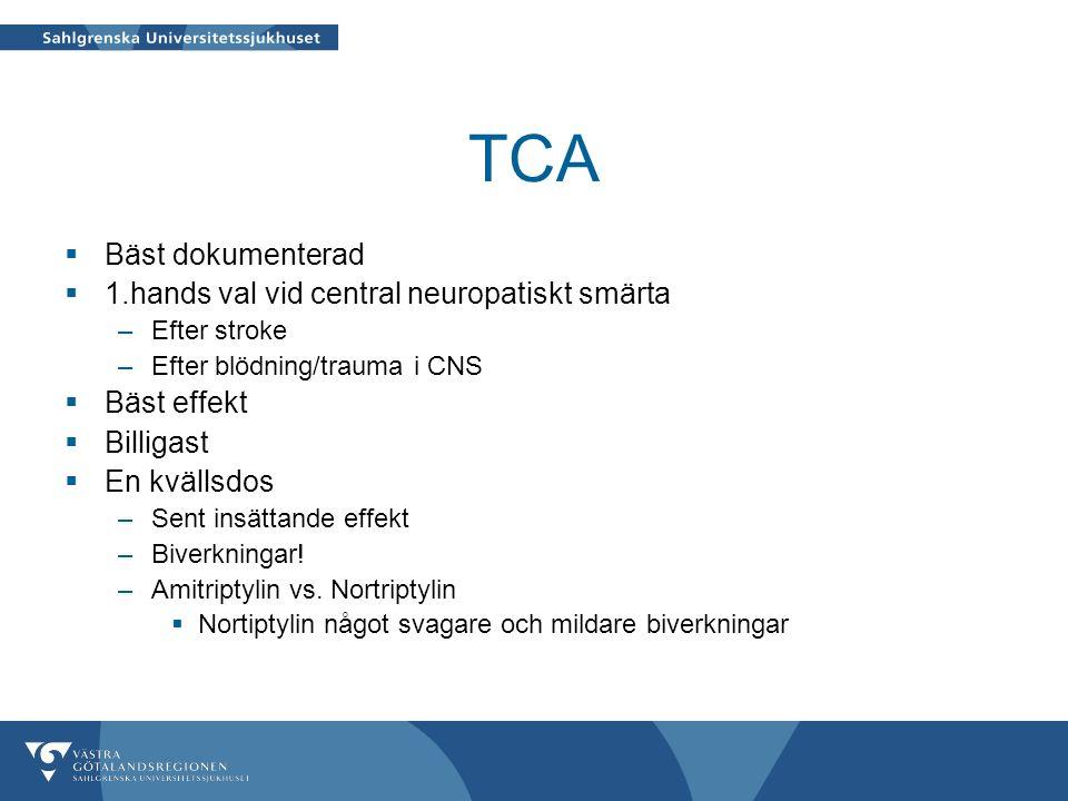 TCA  Bäst dokumenterad  1.hands val vid central neuropatiskt smärta –Efter stroke –Efter blödning/trauma i CNS  Bäst effekt  Billigast  En kvällsdos –Sent insättande effekt –Biverkningar.