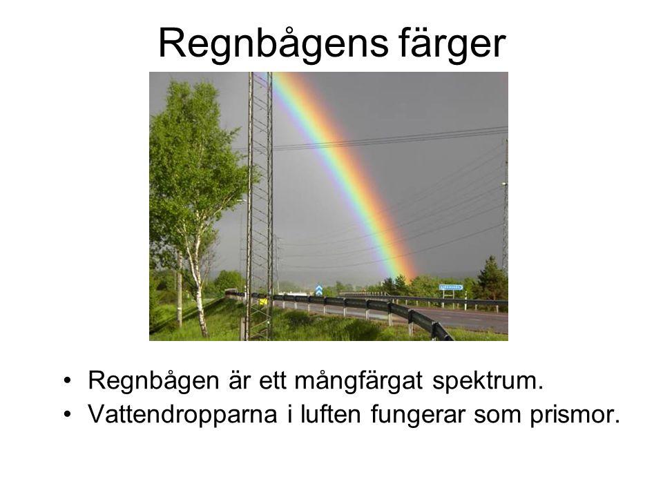 Regnbågens färger Regnbågen är ett mångfärgat spektrum.