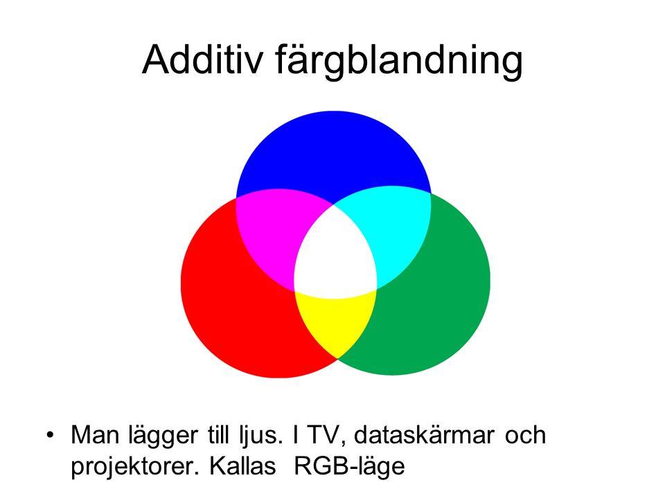 Additiv färgblandning Man lägger till ljus. I TV, dataskärmar och projektorer. Kallas RGB-läge