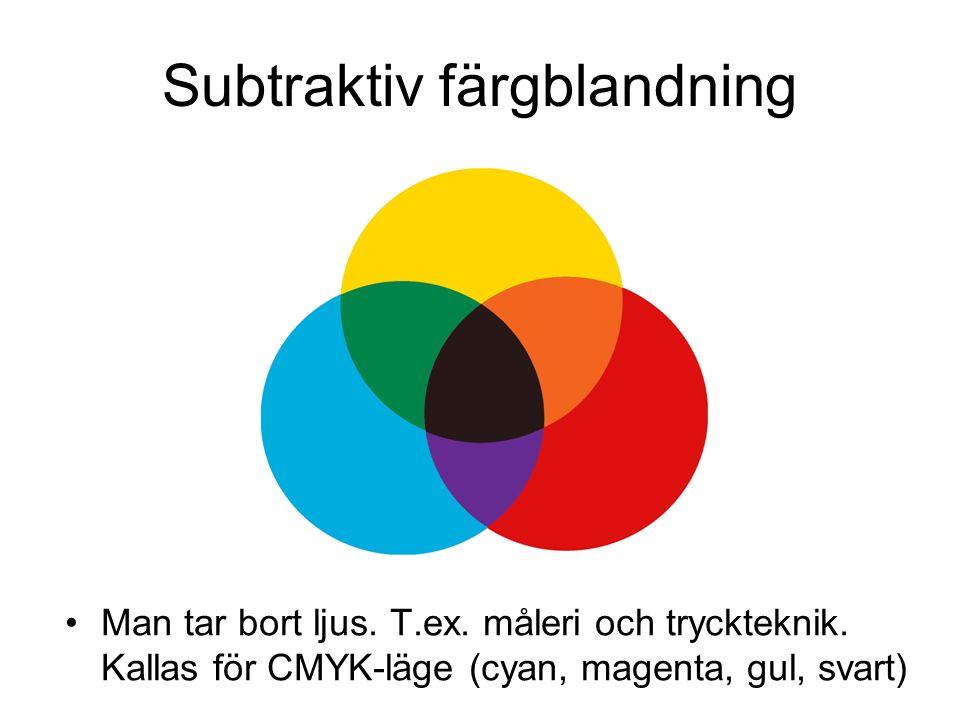 Subtraktiv färgblandning Man tar bort ljus. T.ex.