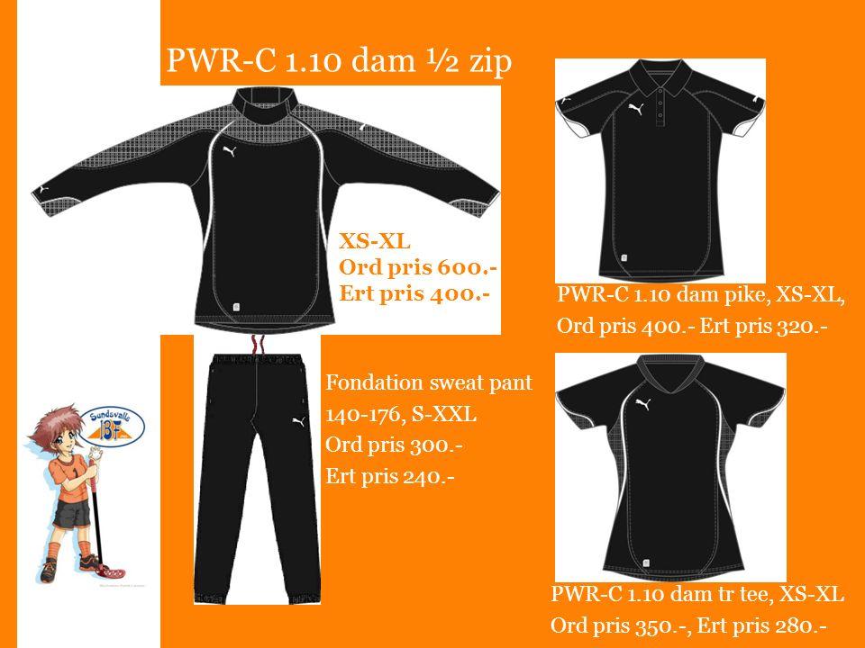 PWR-C 1.10 dam ½ zip XS-XL Ord pris 600.- Ert pris 400.- Fondation sweat pant 140-176, S-XXL Ord pris 300.- Ert pris 240.- PWR-C 1.10 dam pike, XS-XL, Ord pris 400.- Ert pris 320.- PWR-C 1.10 dam tr tee, XS-XL Ord pris 350.-, Ert pris 280.-
