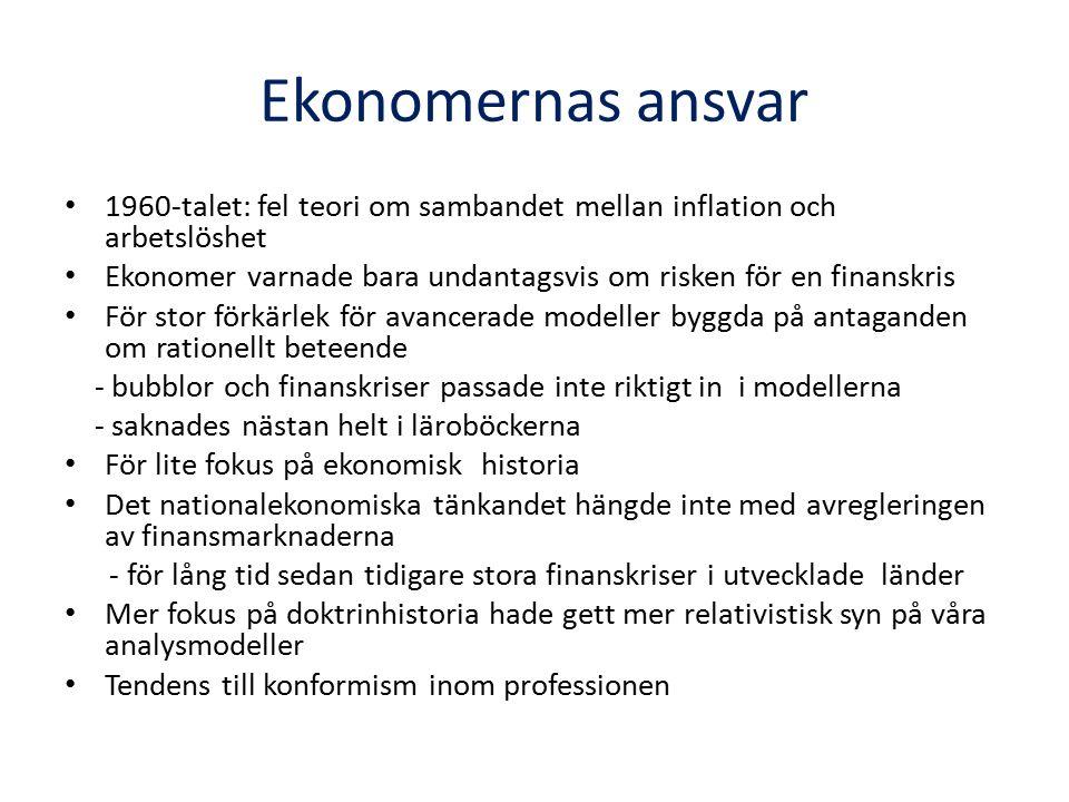 Ekonomernas ansvar 1960-talet: fel teori om sambandet mellan inflation och arbetslöshet Ekonomer varnade bara undantagsvis om risken för en finanskris För stor förkärlek för avancerade modeller byggda på antaganden om rationellt beteende - bubblor och finanskriser passade inte riktigt in i modellerna - saknades nästan helt i läroböckerna För lite fokus på ekonomisk historia Det nationalekonomiska tänkandet hängde inte med avregleringen av finansmarknaderna - för lång tid sedan tidigare stora finanskriser i utvecklade länder Mer fokus på doktrinhistoria hade gett mer relativistisk syn på våra analysmodeller Tendens till konformism inom professionen
