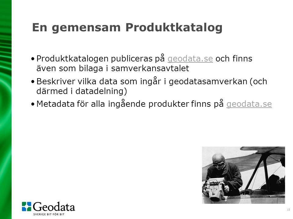 15 En gemensam Produktkatalog Produktkatalogen publiceras på geodata.se och finns även som bilaga i samverkansavtaletgeodata.se Beskriver vilka data som ingår i geodatasamverkan (och därmed i datadelning) Metadata för alla ingående produkter finns på geodata.segeodata.se