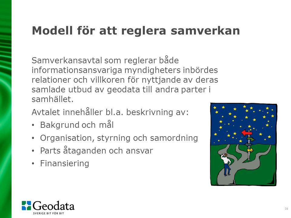 38 Modell för att reglera samverkan Samverkansavtal som reglerar både informationsansvariga myndigheters inbördes relationer och villkoren för nyttjande av deras samlade utbud av geodata till andra parter i samhället.