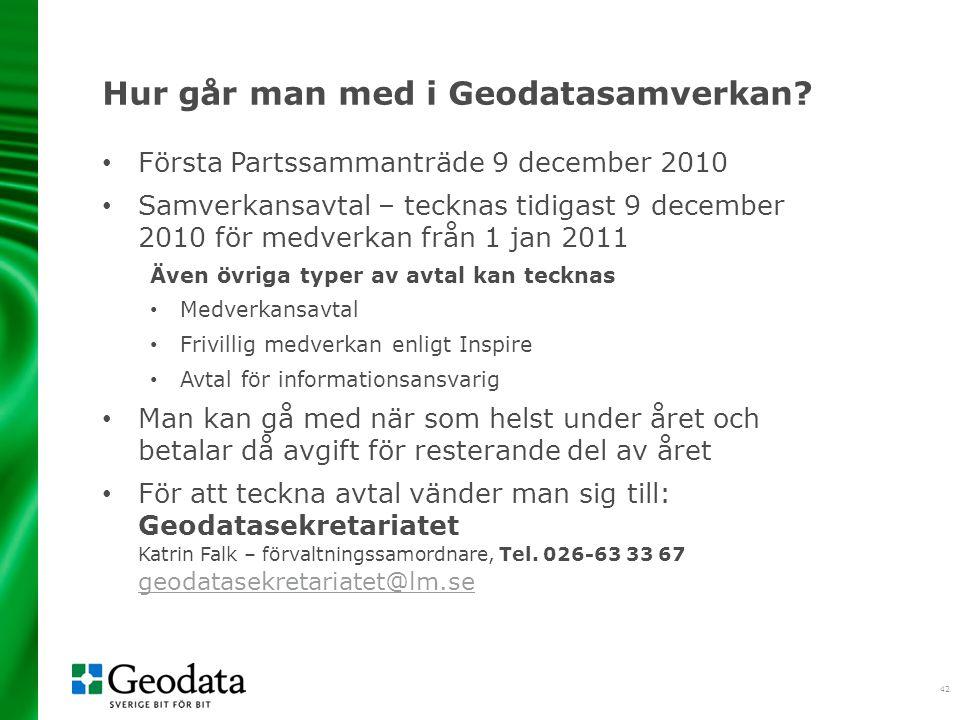 42 Hur går man med i Geodatasamverkan.