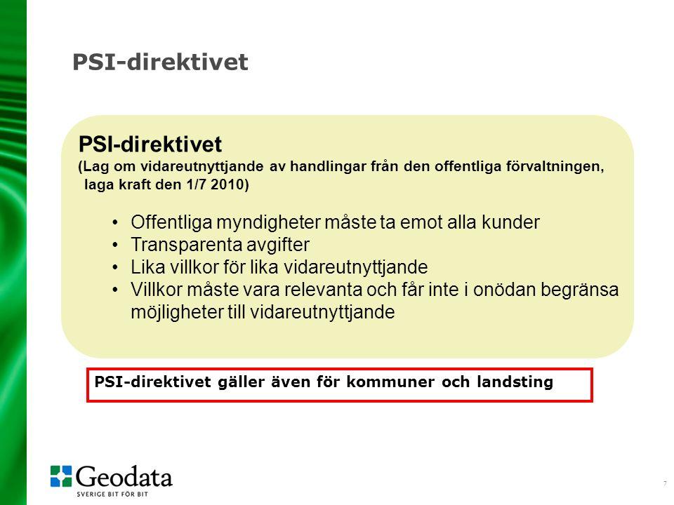7 PSI-direktivet (Lag om vidareutnyttjande av handlingar från den offentliga förvaltningen, laga kraft den 1/7 2010) Offentliga myndigheter måste ta emot alla kunder Transparenta avgifter Lika villkor för lika vidareutnyttjande Villkor måste vara relevanta och får inte i onödan begränsa möjligheter till vidareutnyttjande PSI-direktivet gäller även för kommuner och landsting