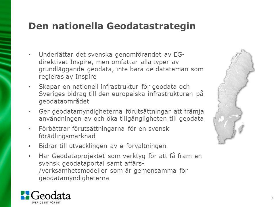 9 Den nationella Geodatastrategin Underlättar det svenska genomförandet av EG- direktivet Inspire, men omfattar alla typer av grundläggande geodata, inte bara de datateman som regleras av Inspire Skapar en nationell infrastruktur för geodata och Sveriges bidrag till den europeiska infrastrukturen på geodataområdet Ger geodatamyndigheterna förutsättningar att främja användningen av och öka tillgängligheten till geodata Förbättrar förutsättningarna för en svensk förädlingsmarknad Bidrar till utvecklingen av e-förvaltningen Har Geodataprojektet som verktyg för att få fram en svensk geodataportal samt affärs- /verksamhetsmodeller som är gemensamma för geodatamyndigheterna
