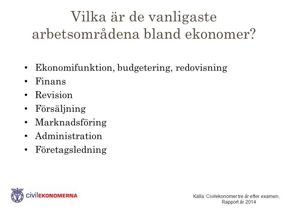 Vilka är de vanligaste arbetsområdena bland ekonomer.