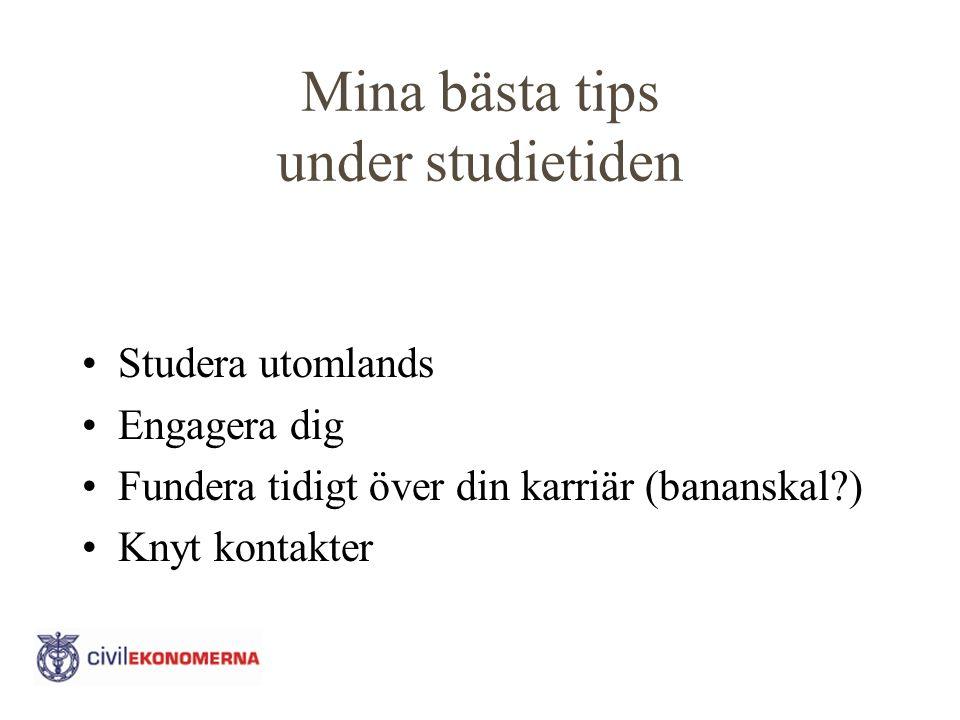 Mina bästa tips under studietiden Studera utomlands Engagera dig Fundera tidigt över din karriär (bananskal?) Knyt kontakter