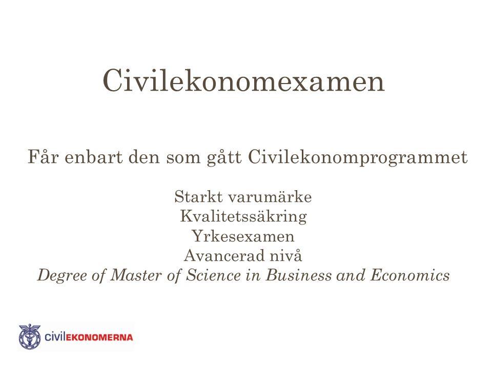 Civilekonomexamen Får enbart den som gått Civilekonomprogrammet Starkt varumärke Kvalitetssäkring Yrkesexamen Avancerad nivå Degree of Master of Science in Business and Economics