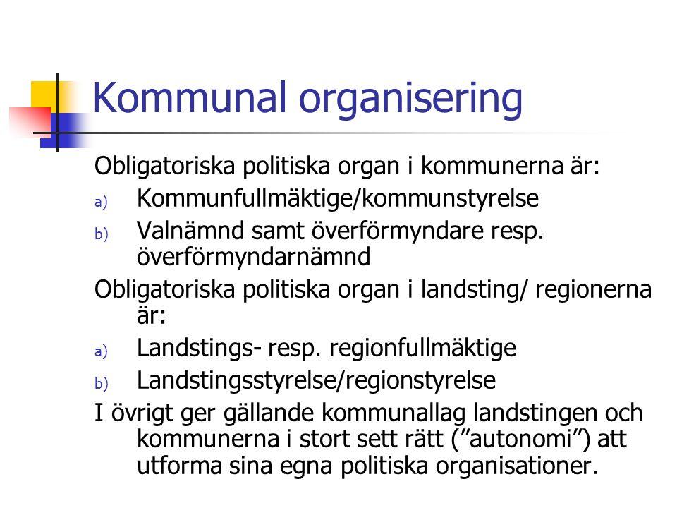 Kommunal organisering Obligatoriska politiska organ i kommunerna är: a) Kommunfullmäktige/kommunstyrelse b) Valnämnd samt överförmyndare resp.
