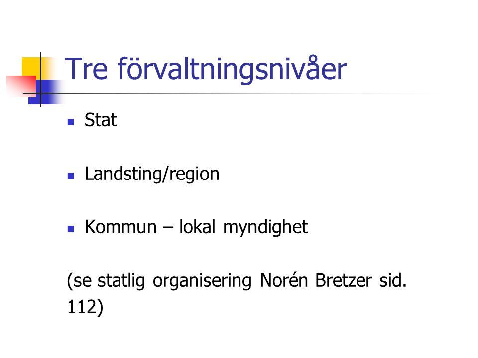 Tre förvaltningsnivåer Stat Landsting/region Kommun – lokal myndighet (se statlig organisering Norén Bretzer sid.