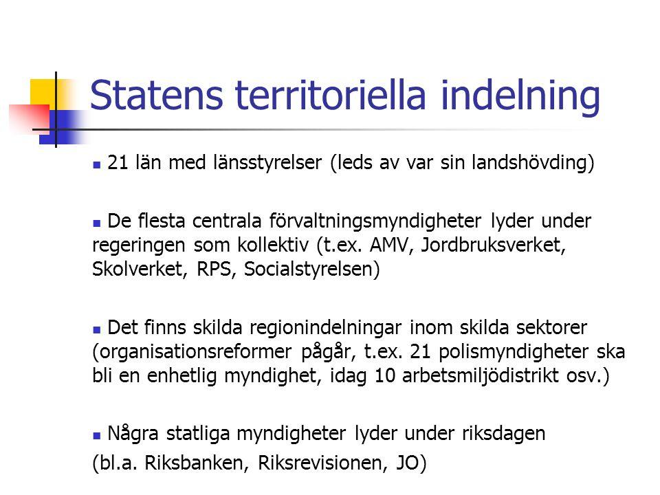 Statens territoriella indelning 21 län med länsstyrelser (leds av var sin landshövding) De flesta centrala förvaltningsmyndigheter lyder under regeringen som kollektiv (t.ex.