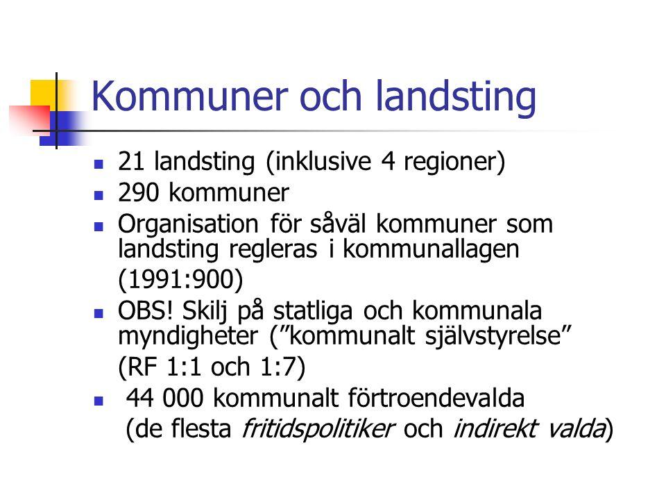 Kommuner och landsting 21 landsting (inklusive 4 regioner) 290 kommuner Organisation för såväl kommuner som landsting regleras i kommunallagen (1991:900) OBS.
