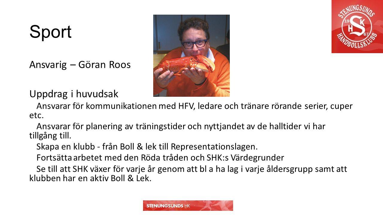 Sport Ansvarig – Göran Roos Uppdrag i huvudsak Ansvarar för kommunikationen med HFV, ledare och tränare rörande serier, cuper etc.