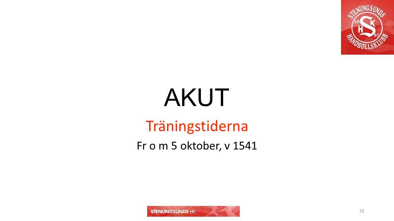 AKUT Träningstiderna Fr o m 5 oktober, v 1541 18