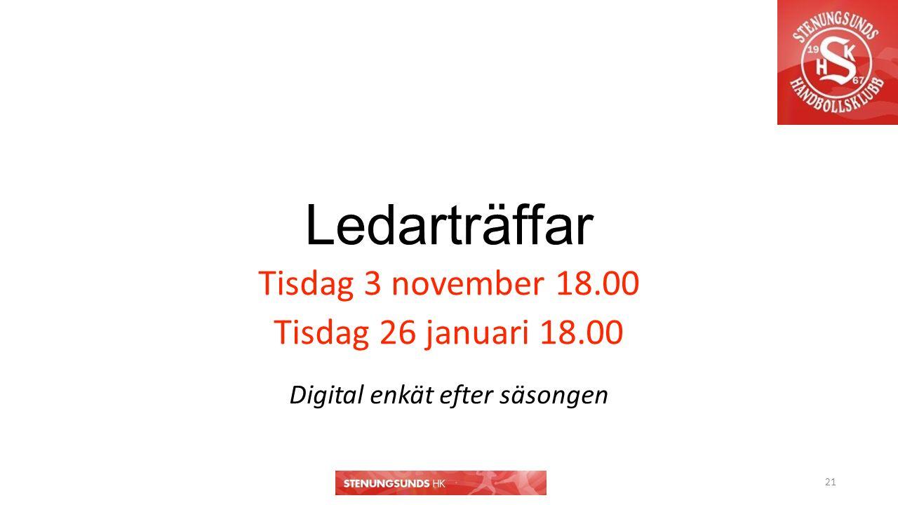 Ledarträffar Tisdag 3 november 18.00 Tisdag 26 januari 18.00 Digital enkät efter säsongen 21
