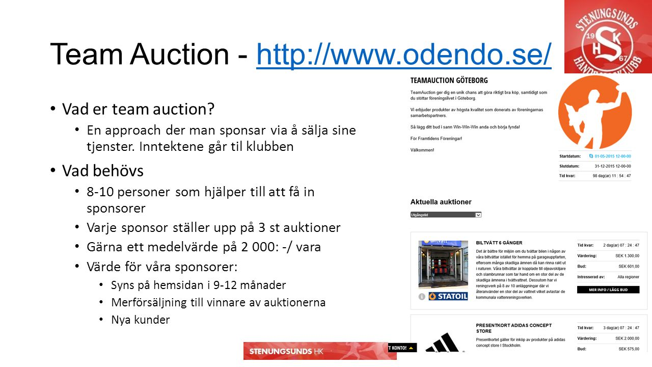 Team Auction - http://www.odendo.se/http://www.odendo.se/ Vad er team auction.