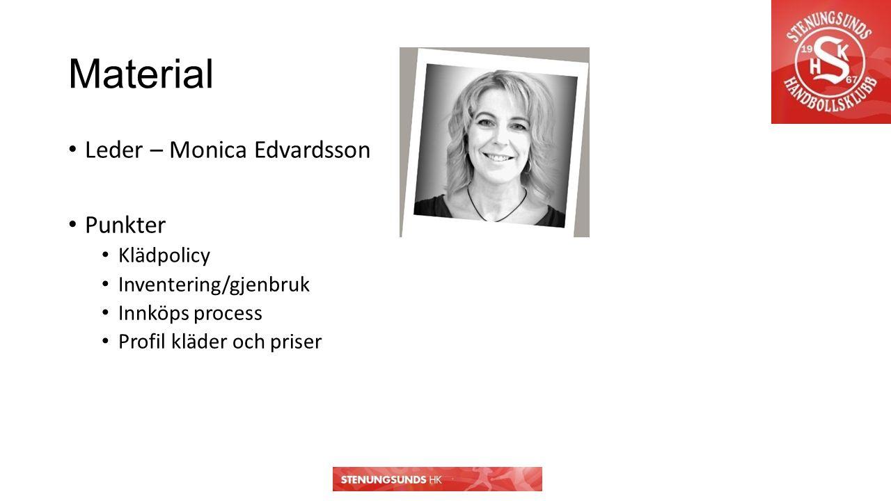Material Leder – Monica Edvardsson Punkter Klädpolicy Inventering/gjenbruk Innköps process Profil kläder och priser
