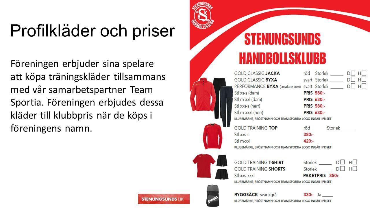 Profilkläder och priser Föreningen erbjuder sina spelare att köpa träningskläder tillsammans med vår samarbetspartner Team Sportia.