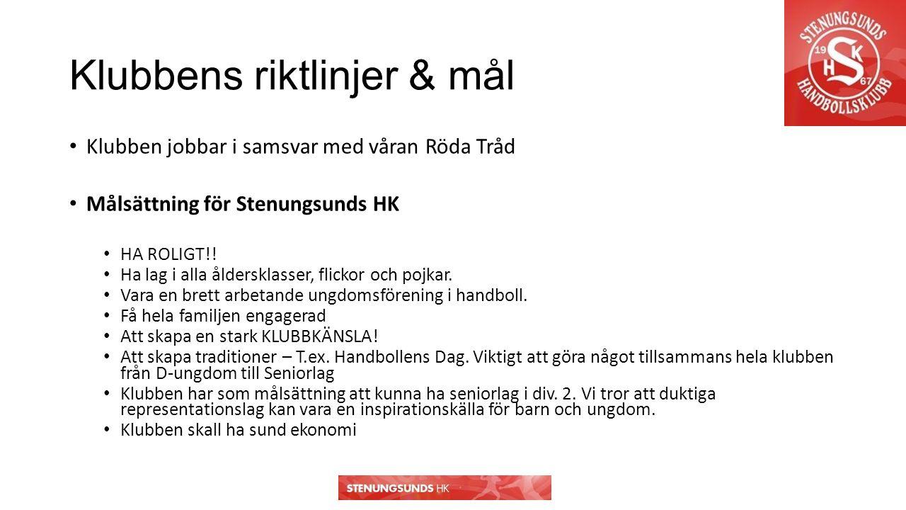 Klubbens riktlinjer & mål Klubben jobbar i samsvar med våran Röda Tråd Målsättning för Stenungsunds HK HA ROLIGT!.