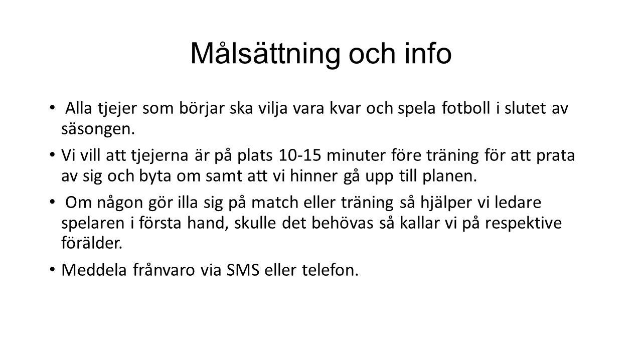 Målsättning och info Alla tjejer som börjar ska vilja vara kvar och spela fotboll i slutet av säsongen. Vi vill att tjejerna är på plats 10-15 minuter
