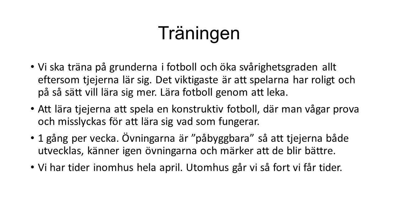 Träningen Vi ska träna på grunderna i fotboll och öka svårighetsgraden allt eftersom tjejerna lär sig. Det viktigaste är att spelarna har roligt och p